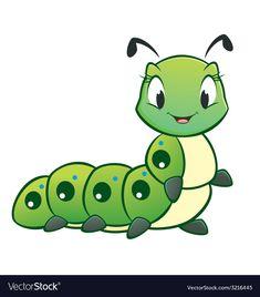 Illustration of Cartoon vector cute caterpillar vector art, clipart and stock vectors. Cartoon Drawings, Easy Drawings, Animal Drawings, Frosch Illustration, Insect Clipart, Cartoon Butterfly, Pet Rocks, Rock Design, Cute Images