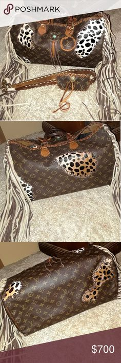 Louis Vuitton speedy 40 fringed/revamped VINTAGE Authentic vintage has multiple ink stains inside. Beige tan and brown leather added with leopard print calf hair. This was used before I purchased and signs of wear dark handles NO ZIPPER dark tab on one end and the tab has some cracks from being dry. I leather conditioned the leather.The bag still shows normal wear . Inside pocket had two tares and i used fabric glue . There is more photo's in separate listing in my closet. Louis Vuitton Bags…