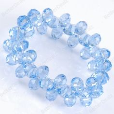 Blue Faceted Crystal Quartz Beads Stretchy Bracelet
