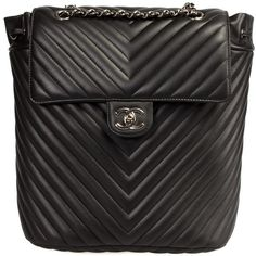 Chanel Chevron Quilted Urban Spirit Backpack ($2,600) ❤ liked on Polyvore featuring bags, backpacks, black, chanel, handbags, leather rucksack, leather pouch, leather backpack and genuine leather backpack