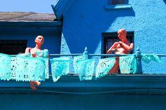 Red Manikins, Blue House in Kensington Market - Toronto, Ontario - Photo