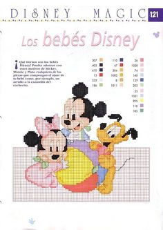 Disney Magic ~ Mickey, Minnie and Pluto Cross Stitch Sampler Patterns, Disney Cross Stitch Patterns, Cross Stitch Samplers, Cross Stitching, Cross Stitch Embroidery, Embroidery Patterns, Just Cross Stitch, Cross Stitch Needles, Cross Stitch Baby