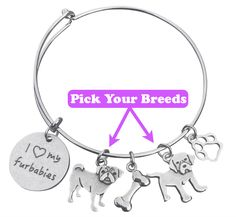 """Calling all Fur BabyLovers!- This Fashion Piece Is For You! Love your dog(s) & cat(s) unconditionally? Show your love to the world with our Custom Breed""""I Love My Furbabies"""" Bangle Bracelet.Choose your breed(s) for full bracelet customization!    THIS BRACELET COMES WITH THE FOLLOWING:  U.S.A. Made7.75"""" Stainless Steel Bracelet (1) """"I Love My Furbabies"""" Premium Engraved Silver-Plated Charm [FREE CUSTOMIZATION] Select 1 or 2 Dog Breed Charms (Cats Avai..."""