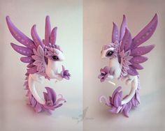 Orchid dragon by AlviaAlcedo next sale circa February 2015 Polymer Clay Dragon, Polymer Clay Figures, Polymer Clay Animals, Cute Polymer Clay, Cute Clay, Fimo Clay, Polymer Clay Projects, Polymer Clay Charms, Polymer Clay Creations