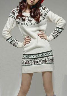 White Deer Print Long Sleeve Wrap Knit Sweater