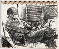 "Richard Diebenkorn (b. 1922 - d. American), ""Untitled"" [from the 'Sketchbook N° page 45 Crayon on Paper, Gift of Phyllis Diebenkorn ~ © The Richard Diebenkorn Foundation. Richard Diebenkorn, Life Drawing, Drawing Sketches, Painting & Drawing, Art Drawings, Moleskine, Best Sketchbook, Artist Sketchbook, Figure Sketching"
