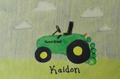 Toddler's footprint John Deer Tractor - Candra Faulkner