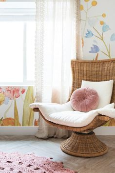 The bohemian-inspired Akila Swivel Chair looks so cozy for mama and babe. The bohemian-inspired Akil Boho Nursery, Girl Nursery, Girl Room, Floral Nursery, Cheap Rustic Decor, Cheap Home Decor, Minnie Mouse House, Wallpaper Dresser, Cara Loren