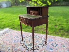 Dollhouse Miniatures Dennis Jenvey Handmade Writing Desk Signed 1982