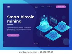 Cryptocurrency and Blockchain concept. Farm for mining bitcoins. Digital money market, investment, finance and trading. Banner design concept for landing page. Isometric vector illustration.