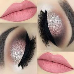 Loving the color of the soft pink lips and the champagne glitter eye shadow. You can never have too much sparkle. #eyemakeup #sparkle #shimmer #Christmas #parties #holidays #makeup