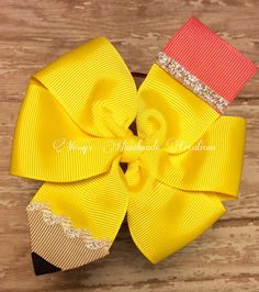 READY TO SHIP! Back to school! pencil boutique hair bow!!