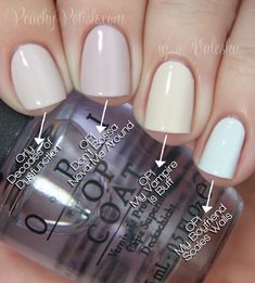 """Pointer to pinkie; 3 coats of each: Orly """"Decades of Dysfunction"""", OPI """"Don't Bossa Nova Me Around"""", OPI """"My Vampire Is Buff"""" & OPI """"My Boyf..."""