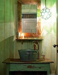 Love this galvanized tub for a sink just about as much as the table it sits upon! Good for an outside sink for sure Wash Tub Sink, Wash Tubs, Slop Sink, Rv Sink, Cabin Bathrooms, Rustic Bathrooms, Country Decor, Rustic Decor, Rustic Table