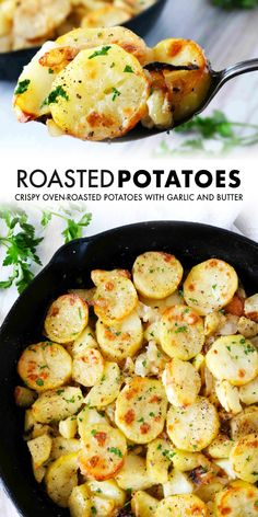 Lyonniase Potatoes are sliced Russet Potatoes that have been coated in butter and garlic and roasted in the oven with onions to crispy perfection. They are perfect for weeknight dinners and a great side dish for entertaining and feeding a crowd!