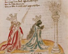 Hans Vintler Solomon and the Queen of Sheba Worshiping an Idol Austria (1411) Die Blumen der Tugend (215 fols.), fol. 6 sup r Illumination on paper Page height: 280 mm. Page width: 193 mm. The Image...