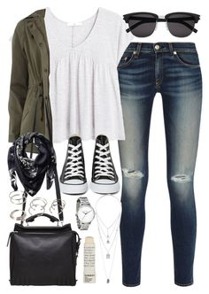 """""""Outfit for college"""" by ferned ❤ liked on Polyvore featuring rag & bone, MANGO, Dorothy Perkins, Topshop, Converse, 3.1 Phillip Lim, Yves Saint Laurent, Forever 21, Givenchy and Korres"""