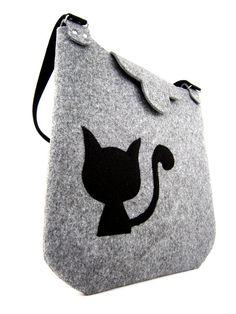 Cat handbag Felt purse Bag for women Gray bag Felt by Torebeczkowo, #Cathandbag #Feltpurse  #graybag, #feltcatbag