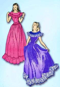 1940s Vintage Butterick Sewing Pattern 4005 Misses WWII Prom Dress or Gown 30 B