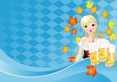 Girl with beer oktoberfest vector material 11