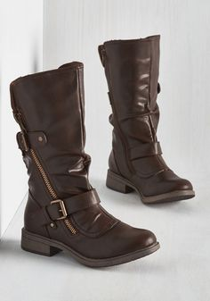 Stomp and Circumstance Boot. Its worth making a big ado about these brown boots by Report Footwear! #brown #modcloth