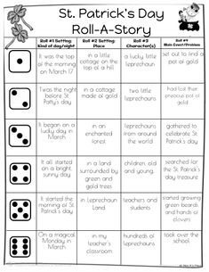 Patricks Day Roll-A-Story Writing Activity Great Bell Ringer activity that would take 10 minutes total. Writing Worksheets, Writing Activities, Classroom Activities, Narrative Writing, Writing Prompts, St Patrick's Day Story, Roll A Story, Saint Patricks Day Art, St Patrick Day Activities