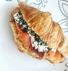 Croissant with salmon ! Fav Snack. #frenchfood #croissant #salmon #snack