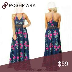 """[Plus: 1X] Sweet Pink Floral Maxi Dress Light-weight, floral long maxi dress. Lace see-through waistline. V-neckline and sleeveless. T back design. Zips on the side.  Length is 54.5"""" from arm pit to bottom of dress.  Sizes 1X = 14/16 ∆04 Breaux Mode Dresses Maxi"""