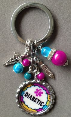DIABETIC awareness key chain bottle cap allergy by KeyChainBling, $16.00