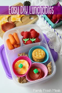 """What's in our lunch box: """"It is seriously the best idea for those days when you don't know what to pack! Our DIY Lunchable has Turkey pepperoni, crackers, cheese, raspberries and carrots..."""" - Family Fresh Meals Lots more easy lunchbox ideas for the family ► http://bit.ly/14VU8bo"""