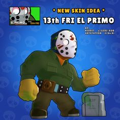 Friday the EL Primo - Rate this skin idea in the comments . Star Wallpaper, Wallpaper Iphone Disney, Star Character, Character Drawing, Pokemon Memes, Free Gems, Clash Royale, Cartoon Games, Star Art
