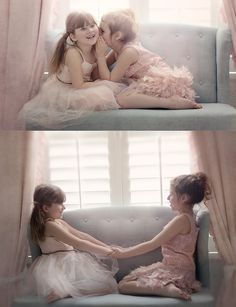 Evangeline and Biscotti share secrets and practice how to hold hands while twirling in a picture. SISTERS <3