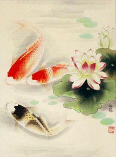 Koi fish and lotus pond wall scroll