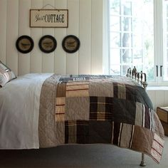 Watson Quilt is sewn of wool stripes and plaids. It is a very warm, masculine and vintage-looking quilt