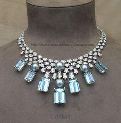 Jewels - Blue Topaz And Diamond Necklace, Cartier, Rue de la Paix, Paris Cartier Necklace, Cartier Jewelry, Gems Jewelry, Antique Jewelry, Jewelery, Vintage Jewelry, Fine Jewelry, Bullet Jewelry, Jewelry Necklaces