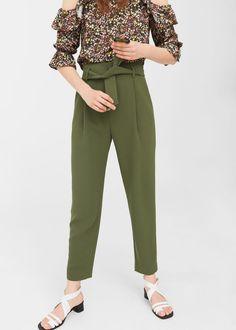 Belted crepe pants -  Women | MANGO USA