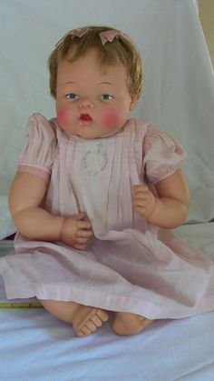"""Vintage Ideal Thumbelina Doll – ULTRA RARE – Life Size 25"""", Wooden Knob, Works!!"""