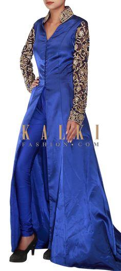 Buy Online from the link below. We ship worldwide (Free Shipping over US$100) http://www.kalkifashion.com/royal-blue-anarkali-embellished-in-kardana-only-on-kalki.html