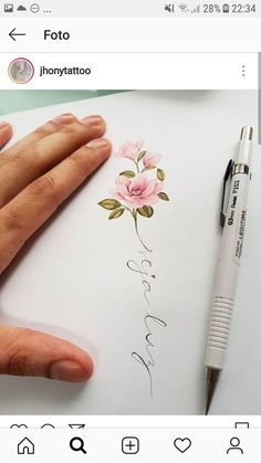 Flowers drawing ideas fun ideas Flowers will be the major issues that give you Pretty Tattoos, Love Tattoos, Beautiful Tattoos, Body Art Tattoos, Tattoos For Women, Tatoos, Name Flower Tattoo, Flower Tattoo Designs, Flower Tattoos With Names