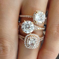 Rose Gold Engagement rings are a major trend this year! They are feminine, they look amazing on all skin tones, and can fit any budget!