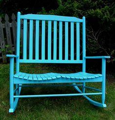 Sea Foam Blue Reclaimed Painted Bentwood Double Rocker Rocking Chair.
