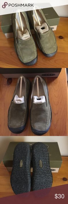 """Keen Golden Loafer Slip on Never worn. Waterproof leather upper. Color is called """"Swamp"""". Looks olive green like in the cover picture. NWOT Keen Shoes Flats & Loafers"""