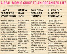 This hilarious mom shows you how real mom's get organized. Forget all those guides telling you how to organize your life, this is too funny, and will make all moms nod in agreement. Click through to read the whole list!