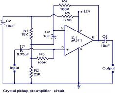 Crystal pickup #PreAmplifier circuit is an electronic amplifier that prepares a small electrical signal for further amplification or processing. They are typically used to amplify signals from microphones.