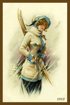 Woman Holding Skis 1910. Quilt Block printed on cotton. Ready to sew.  Single 4x6 block $4.95. Set of 4 blocks with free wall hanging pattern $17.95