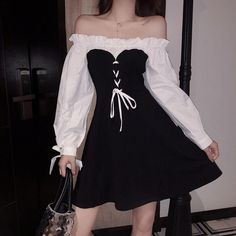 Online Shop 2018 Autumn New Women Lolita Ruffles Off Shoulder Bow Puff Sleeve Lace Up Slim Dress Female Vintage Party Mini Dresses Vestidos Edgy Outfits, Teen Fashion Outfits, Korean Outfits, Cute Fashion, Look Fashion, Pretty Outfits, Pretty Dresses, Girl Outfits, Fashion Dresses