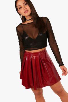 Sophie Vinyl Box Pleat Skater Skirt