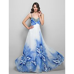 A-line/Princess Spaghetti Straps Sweep/Brush Train Print Evening/Prom Dress – EUR € 189.74