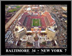 Baltimore Ravens Wood Mounted Poster Print - Superbowl 35 XXXV Aerial - Lg