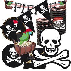 Un impactante y útil kit de decorados para una fiesta pirata, de www.fiestafacil.com - $13.95 / A useful and striking decoration kit for a pirate party, from www.fiestafacil.com